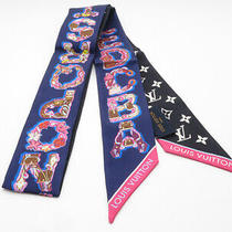 Louisvuitton Scarf Silk Twilly Bandeau Lv and Me Navy Black M76445 Authentic Photo