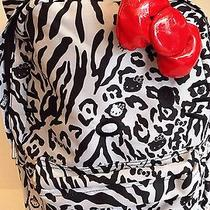 Loungefly Hello Kitty Blk/wht Leopard/zebra With Red  Bow Nylon Backpack Photo