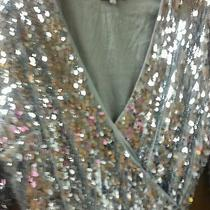 Love Adam Sequin Silver Wrap Dress Size Medium  Nwot Photo