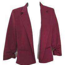 Love Ady Women's Short Fuchsia Blazer Lined No Button Ruched Sleeve Size M Photo