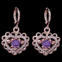 Love Heart Hot Rose Gold Filled C.z Women Lady Dangle Earrings Jewelry Cz0134 Photo