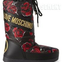 Love Moschino Black 37-38 Red Roses Gold Logo Peace Snow Moon Boots Nib Authentc Photo