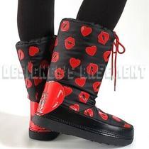 Love Moschino Black 39-40 Red Kisses & Hearts Logo Snow Moon Boots Nib Authentic Photo