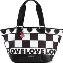 Love Moschino Love Check Pattern Canvas Tote Bag Black & White Nwt 210 Photo
