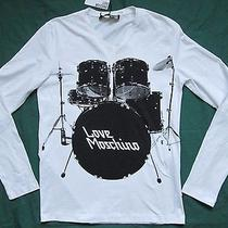 Love Moschino Mens Drums Print White Long-Sleeve T-Shirt Size S-M Photo