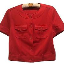 Love Moschino Womens Red Top Shirt Jacket Buttons Pockets Viscose Blend Size 8 Photo