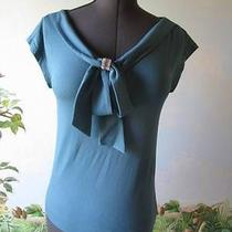 Love Moshino Gorgeous Teal Jeweled Bow Evening Top Size 4 Nwt 250 Photo