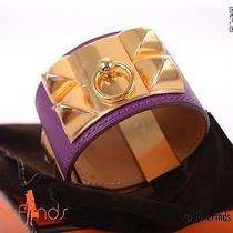 Love This Color Hermes Cdc Bracelet Anemone Leather W Gold Hardware  Photo