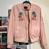 Love Tree Women's Blush Pink Embroidered Hawaii Aloha Bomber Jacket Size L Photo