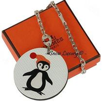 Loveable Hermes Penguin Leather & Sterling Silver Bag Charm Cadena Keychain  Photo