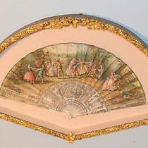 Lovely 1800s Artist Signed French Hand Painted Mother-of-Pearl & Gold Inlay Fan  Photo