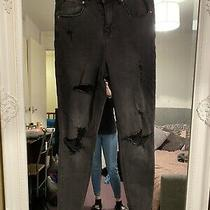 Lovely Chloe High Waisted Black Ripped Jeans Size 12 Photo