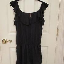 Lovely Day at Urban Outfitters Black Sleeveless Ruffle v-Neck Romper Nwot Sz M Photo