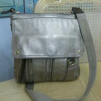 Lovely Gold Pebbled Leather Fossil Messenger Crossbody Handbag Purse Photo