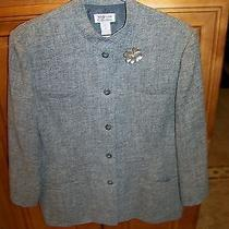 Lovely Gray Lined High End Career Blazer Sz 16 Jacket W Silver Brooch Style & Co Photo