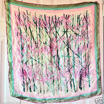 Lovely Large Vera Wang Floral Silk Scarf Free U.s. Shipping Photo