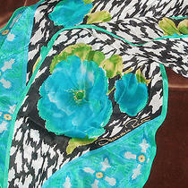 Lovely Oscar De La Renta Silk Long Floral Scarf Photo