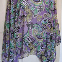 Lovely Purple Print Travel Elements See-Through Poncho - One Size Photo