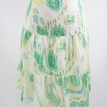 Lovely Theory Green Yellow Tie Dye Silk Skirt Sz 8 Photo