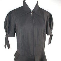 Lovely Trina Turk Front Zip 100% Wool Sleeve Tie Shirt Top Blouse 12 Photo