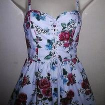 Lovely Vintage 50's Style Red White Rose  Print  Dress Size Uk 8 From h&m Photo
