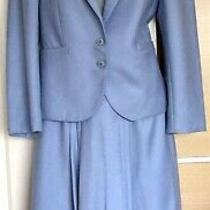 Lovely Vintage Loretta Bloom Powder Blue Pure New Wool Suit Jacket Skirt Size 12 Photo