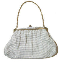 Lovely Whiting Davis Mother of Pearl Accent White Mesh Bag Purse Dinner Bag Photo