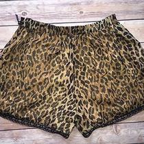 Lovers & Friends Leopard Animal Print Silk Dolphin Lace Hem Shorts 105us Xs Photo