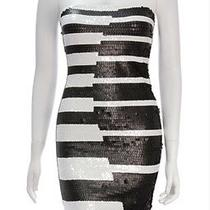 Lowered Authentic Herve Leger Black and White Sequin Strapless Piano Dress - Xs Photo