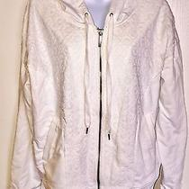 Lqqk Dkny Jeans Lace-Inset Zip-Up Hoodie Sweater White Sz Xl Juniors Photo