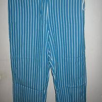 Lrl Ralph Lauren Womens Aqua Blue Striped Capri Pants 10 Photo