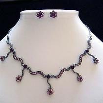 Lt Amethyst Swarovski Necklace/earring Set N1166a Photo