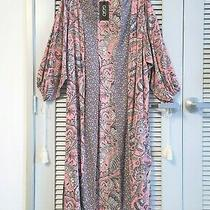 Lt Rose Mixed Print Long Kimono Cardigan L W/ Anthropologie Earrings Photo