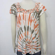 Lu Lu Lame Olive Orange White Braided Collar Short Sleeve Tie Dye Casual Top M Photo