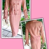 Luca Luca 2pc Blush Pink Silk Blazer/jacket & Skirt 42/8 Ruched Sleeves  Photo