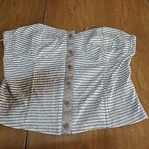 Lucca Couture Crop Top Sz L Urban Outfitters Beige White Striped Photo
