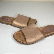 Lucca Lane Womens Bailey Slide Sandals Metallic Rose Gold Leather Slip on 9 M Photo