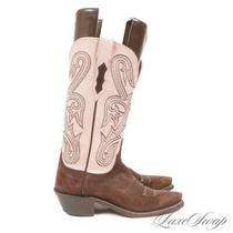 Lucchese 1883 Made Usa Pink Leather Brown Suede 15468 Western Cowboy Boots 5.5 Photo