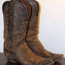 Lucchese 1883 Men Brown Distress Mad Dog Leather Nip Toe Cowboy Boots Size 8.5 B Photo