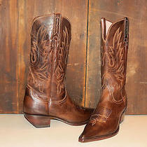 Lucchese Charlie 1 Horse Tan Leather Western Boots Biker Harley Riding Sz 9 Photo