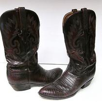 Lucchese Classic Handmade Brown Lizard Skin Western Cowboy Boots - Sz 7 1/2 2e  Photo