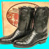 Lucchese Classics Black Caiman Crocodile Belly  Roper Boots Men's Size 10 D Photo