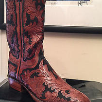 Lucchese Custom Hand Made Boots Handtooled Design in Red Mahogany & Black Photo