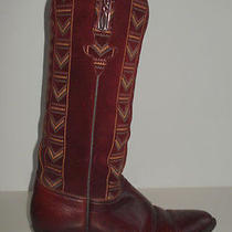 Lucchese Embroidered Burgundy Red Leather Western Native Southwest Boots 6.5 C Photo