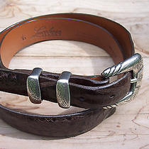 Lucchese Genuine Crocodile/alligator Belt 36 Sterling Silver Buckle and Keepers Photo