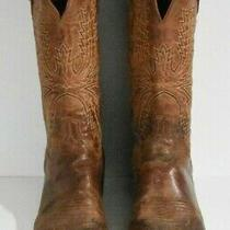 Lucchese Men 10.5 D Brown Square Toe Western Leather Classic Boots Holes in Sole Photo