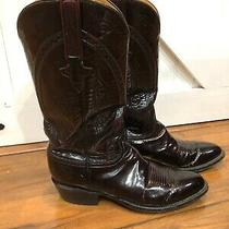 Lucchese Men 9 1/2 D Leather Oxblood Deep Burgundy Exotic Western Cowboy Boots Photo