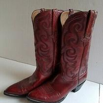 Lucchese  Mens Burgundy Leather Hand Made Boots Size 9b Photo