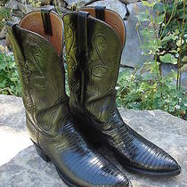 Lucchese Vintage Classics Teju Lizard Exotic Rare Western Jet Black Boot 8 1/2 D Photo