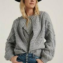 Lucky Brand 130 Sz S Wool Blend Bobble Sweater Cardigan Grey Gray Pom Pom Photo